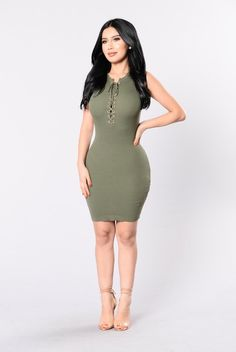 - Available in Olive and Dusty Rose - Thinly Ribbed Dress - Lace Up Front - Sleeveless - Midi Length - 70% Rayon 30% Nylon