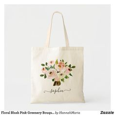 Floral Blush Pink Greenery Bouquet Personalized Tote Bag Burgundy Bridesmaid, Personalized Tote Bags, Personalized Wedding, Floral Tote Bags, Pink Watercolor, Floral Bouquets, Blush Pink, Greenery, Monogram Tote