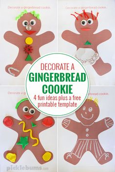 Decorate a Gingerbread Man Craft - Free Printable - Picklebums Fun Christmas Activities, Winter Activities For Kids, Creative Activities For Kids, Creative Play, Christmas Printables, Crafts For Kids, Gingerbread Man Crafts, Gingerbread Decorations, Gingerbread Man Cookies