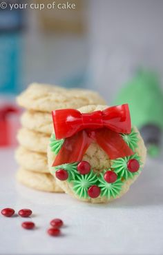 Make this adorable Christmas Wreath Cookie Recipe with your kids. These sweet treats are fun to decorate and a great dessert to share with friends, family, and neighbors!