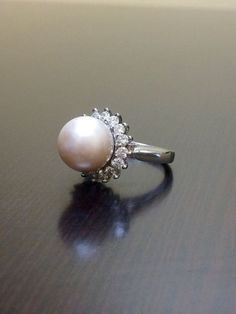 18K White Gold Pearl Diamond Engagement Ring 18K by DeKaraDesigns
