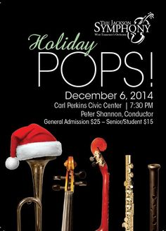 The official start of the Holiday Season begins with The Jackson Symphony's first Pops concert Saturday, December 6 at 7:30 p.m. at the Carl Perkins Civic Center.  This family friendly concert will feature two sensational guest artists, Sabrina Laney Warren and Dr. Stanley Warren, singing festive Holiday favorites! Santa Claus has promised to be there as well as Clara the Symphony Elf!  Picture opportunities will be available as well.   Visit www.thejacksonsymphony.org.