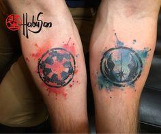 Imperium und Rebellen vereint! Komm auf die dunkle Seite, Daniel! :-) #tattoo #habusan #watercolour #starwars