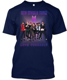 B T S Love Yourself World Tour 2018 Navy Kaos Front