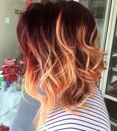 Bold red copper #ombre for this lovely lady! Love these colors together…