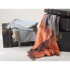 Rayon from Bamboo Reversible Fringe Throw Blanket