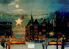 This image depicts York's Continental Square at Christmastime, circa 1938, complete with downtown trolleys.