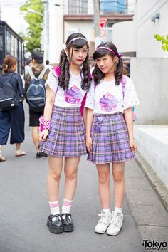 Peco Club Girls in Harajuku w/ Matching Bubbles Plaid Skirts (Tokyo Fashion, 2015)