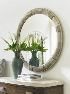 Beverly Round Mirror with Reed Design in Silver Leaf with Hand-burnishing.  #LHBDesign #SilverMirror