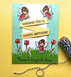 The Queen's Scene: Lawn Fawn Fairy Friends Have a Magical Day Card by Lynn Put- (CTD437)