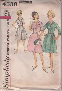 MOMSPatterns Vintage Sewing Patterns - Simplicity 4538 Vintage 60's Sewing Pattern SWELL Slenderette Classic Gored Skirt Lucy Shirtwaist Dress Set, 3 Styles