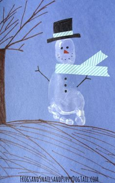 Holiday Snowman Footprint Art | AllFreeKidsCrafts.com