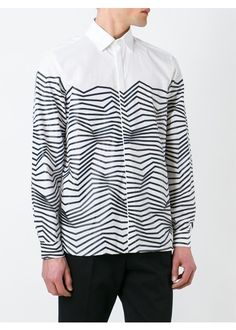 White and black cotton zig-zag print shirt from Neil Barrett featuring a classic collar, a concealed front button placket, long sleeves, button cuffs and a straight hem.