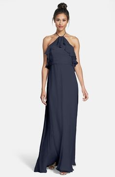 $310, Ruffle Detail Crinkled Silk Chiffon Halter Gown by Amsale. Sold by Nordstrom. Click for more info: http://lookastic.com/women/shop_items/158788/redirect