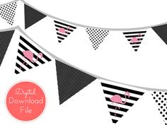 Pink Flamingo Banner, Black Stripes, Pennant, Garland, Printable Banner, Baby Shower Banner, Birthday Party, Bridal Shower, Wedding banner