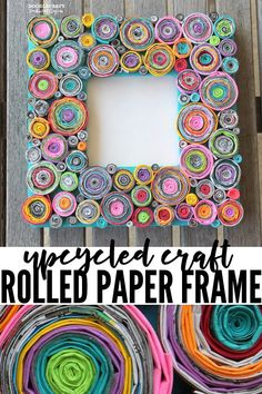 Upcycled Rolled Paper Frame DIY Craft using colored paper and magazines, tedious DIY paper crafts Upcycled Rolled Paper Frame DIY Craft! Rolled Magazine Art, Upcycled Crafts, Diy Crafts, Spray Paint Frames, Rolled Paper Art, Paper Owls, Magazine Crafts, Diy Papier, Handmade Frames