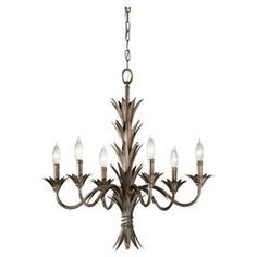 Steel chandelier with leaf-inspired bobeches.  Product: ChandelierConstruction Material: SteelColor: CopperFeatures: UL listed for dry locationsAccommodates: (6) 60 Watt candelabra B torpedo bulbs - not includedDimensions: 25'' H x 24.5'' Diameter