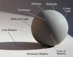A photo of a sphere with the various tones caused by the play of light.