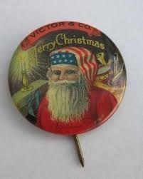 Antique Victor & Co. (Victrola) Santa Claus Pinback Button