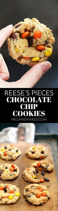 These soft and chewy Reese's Pieces Chocolate Chip Cookies are a peanut butter and chocolate lover's dream. A traditional chocolate chip cookie base is overloaded with chocolate and candy to create a cookie you won't soon forget.