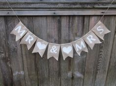 MR MRS Burlap Banner Sign Gold Glitter Wedding