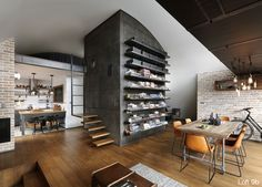 An Architect's Attic Apartment with Custom Furniture