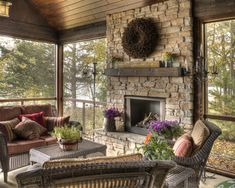 Traditional Porch Fireplace Design, Pictures, Remodel, Decor and Ideas