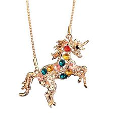 Crystal Unicorn Pendant Necklace Rhinestone Rainbow Jewelry Charm Gift Shipping FREE, Item location USA ( ISBN - Does not apply, UPC - Does not apply, EAN - Does not apply, Brand - Doctor Unicorn ) Long Chain Necklace, Gold Necklace, Pendant Necklace, Charm Jewelry, Jewelry Gifts, Unicorn Necklace, Unicorns And Mermaids, Thing 1, Crystal Rhinestone