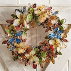 Vintage Jewelry Art There are approximately butterfly species—and the most beautiful ones are on our wreath. Delicately crafted of hand-painted Philippine capiz shell with touches of glitter, it's a uniquely cheerful accessory any time of the year. Butterfly Species, Wreath Crafts, Wreath Ideas, Decoration Crafts, Fall Decorations, Diy Wreath, Pier 1 Imports, Spring Home, Ring Verlobung