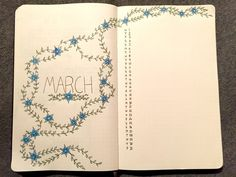 Bullet journal monthly cover page,  March cover page,  bullet journal monthly calendar,  linear calendar,  vertical calendar,  plant drawing,  flower drawing.