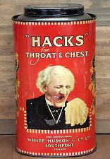 Large, Vintage Shop Tin - 'Hacks' for Throat and Chest '5LBS NET WEIGHT' (empty)