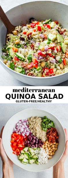 This Mediterranean quinoa salad is an easy recipe made with chickpeas, feta and . This Mediterranean quinoa salad is an easy recipe made with chickpeas, feta and kalamata olives. It's naturally gluten-free, healthy and so delicious! Chicken Salad Recipes, Healthy Salad Recipes, Vegetarian Recipes, Healthy Dishes, Baked Quinoa Recipes, Easy Recipes, Healthy Meals, Healthy Easy Recipies, Recipes With Feta