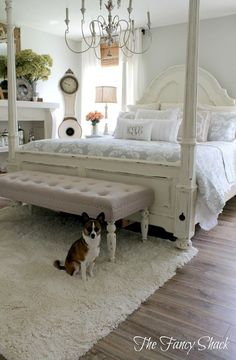 Bedroom White Furniture: The Fancy Shack: Master Bedroom Makeover Reveal Painted Beds, Painted Bedroom Furniture, White Furniture, Shabby Chic Furniture, Cheap Furniture, Discount Furniture, Shabby Chic Master Bedroom, Master Bedroom Makeover, Trendy Bedroom