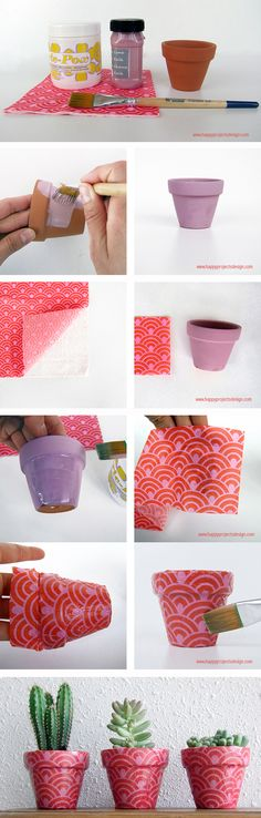 #Decoupage paso a paso #DIY #maceta #decoración