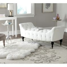 @Overstock - Safavieh Georgette White Bench - Return to the age of glamour with the white velvet Georgette slipper bench by Safavieh.  http://www.overstock.com/Home-Garden/Safavieh-Georgette-White-Bench/9048882/product.html?CID=214117 $347.39
