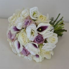 purple bouqets | Bouquets of Memory Lane and Avalanche roses with lisianthus and a ...
