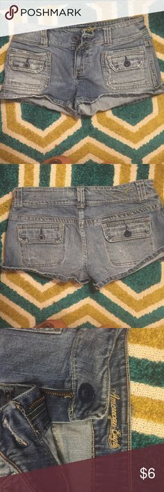 American eagle denim shorts Well worn. Fold over and button pockets front and back. All buttons attached. American Eagle Outfitters Shorts Jean Shorts