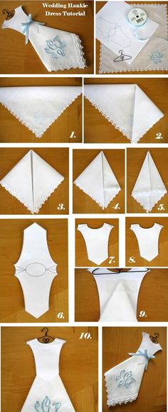 Cute wedding or bridal shower favor. Bodice template can be found by clicking here. Handkerchief Crafts, Handkerchief Dress, Sewing Crafts, Sewing Projects, Tarjetas Diy, Diy Wedding Dress, Card Wedding, Dress Card, Ideias Diy