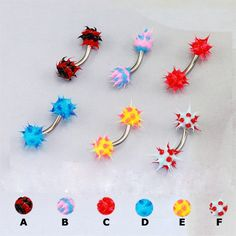 unique eyebrow rings | Unique Piercing Jewelry Colorful Hedgehog Eyebrow Ring