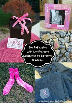Five simple and fun PINK craft projects for Breast Cancer Awareness with @ilovetocreate