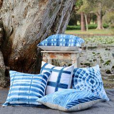 Cushion shibori cushion indigo cushion large cushion small Tie Dye Bedding, Shibori Fabric, Tie Dye Crafts, Small Cushions, Fabric Stamping, Traditional Fabric, Crochet Cushions, Beach Design, Indigo Dye