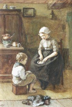 David Adolphe Constant Artz (Den Haag 1837-1890) De boterham - Kunsthandel Simonis en Buunk, Ede (Nederland).