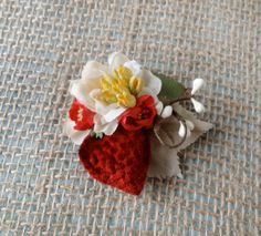 So cute-- perfect for Abby! red strawberry hair clip cream flower bridesmaid by thehoneycomb, $40.00