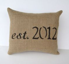 personalized rustic burlap decorative pillow by whimsysweetwhimsy, $32.00