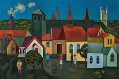 Churches, Hawke's Bay, Rita Angus New Zealand Houses, New Zealand Art, World Of Wearable Art, Art Timeline, Oriental, Nz Art, Examples Of Art, Art Folder, Maori Art