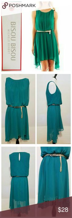 "NWT ~ BISOU BISOU Jade Green Asymmetrical Dress NWT~ Dk Jade Green, Belted Dress * Grecian Goddess  Flowy Style is Light but has Structure in the right paces for a super feminine feel! * Belt is woven silver and slides into attached loops for securing * Romantic  asymmetrical hemline * Fully lined * Size 10 * Measurements ~ Bust 38.5"", Waist 30.5"", Hips 41"", Length from shoulder to hem line is 31""-43"", Arm Openings 8"". No Trades Bisou Bisou Dresses Asymmetrical"