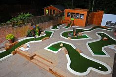 Mini Golf Back Garden Indoor Mini Golf, Golf Putting Green, Adidas Golf Shoes, Outdoor Projects, Outdoor Decor, Crazy Golf, Miniature Golf, Yard Games, Back Gardens
