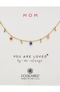 Dogeared Mom, You Are Loved, Dangling Gem Necklace (Gold Dipped) Necklace - Dogeared, Mom, You Are Loved, Dangling Gem Necklace, 1G2476, Jewelry Necklace General, Necklace, Necklace, Jewelry, Gift - Outfit Ideas And Street Style 2017