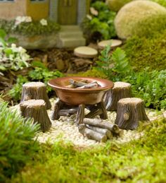 Miniature Fairy Garden Fire Pit and Stump Seats