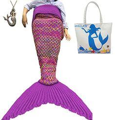 "URSKY Handmade Crochet Knitted Snuggle Mermaid Tail Blanket For Adult, Children, Teens, All Seasons Sofa Living Room Sleeping Bag Blanket (74.8""x .35.5"", Diamond Red) - $27.99"
